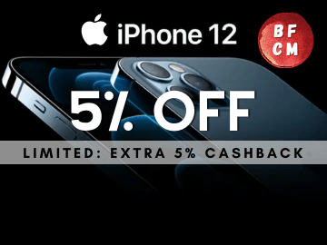 Black Friday Sale! Get 5% off + 5% Cashback on the new Apple iPhone 12 now with this promo code