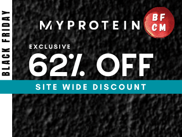 Black Friday Specials 62% off on your protein supplements with this exclusive Myprotein promo code