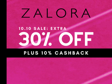 New Customer Special - Enjoy 30% off + 10% Cashback with this Zalora promo code for their 10.10 Sale