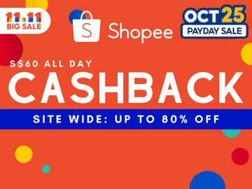 Shop the Shopee 11.11 Sale now and indulge in discounts of up to 80% off and S$60 Cashback all day
